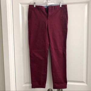 Burgundy Ankle Length Pants